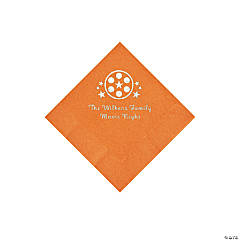 Pumpkin Orange Movie Night Personalized Napkins with Silver Foil – Beverage
