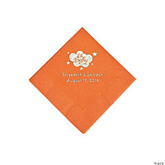 Pumpkin Orange Oh Baby Personalized Napkins with Silver Foil - Beverage