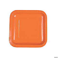 Pumpkin Orange Square Paper Dessert Plates - 18 Ct.