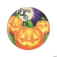 Pumpkin Party Round Paper Dinner Plates - 8 Ct.