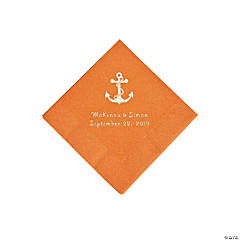 Pumpkin Spice Anchor Personalized Napkins with Silver Foil - Beverage
