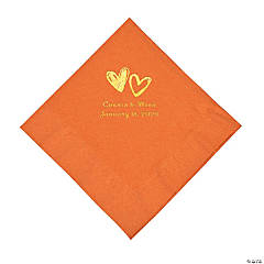 Pumpkin Spice Hearts Personalized Napkins with Gold Foil - Luncheon