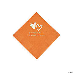 Pumpkin Spice Hearts Personalized Napkins with Silver Foil - Beverage