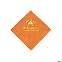 Pumpkin Spice Miss to Mrs. Personalized Napkins with Gold Foil - Beverage