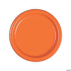 pumpkin spice orange round dinner paper plates