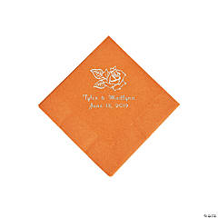Pumpkin Spice Rose Personalized Napkins with Silver Foil - Beverage