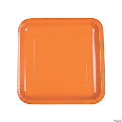 Pumpkin Spice Square Paper Dinner Plates - 18 Ct.