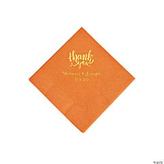Pumpkin Spice Thank You Personalized Napkins with Gold Foil - Beverage