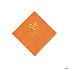Pumpkin Spice Two Hearts Personalized Napkins with Gold Foil - Beverage