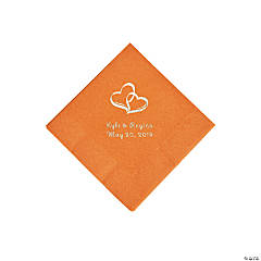 Pumpkin Spice Two Hearts Personalized Napkins with Silver Foil - Beverage