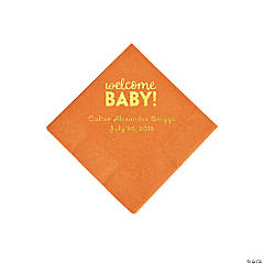 Pumpkin Welcome Baby Personalized Napkins with Gold Foil - Beverage