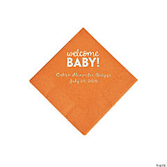 Pumpkin Welcome Baby Personalized Napkins with Silver Foil - Beverage