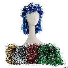 Punk Rock Foil Tinsel Wig
