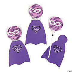 Purple Awareness Ribbon Superhero Swirl Lollipop Set