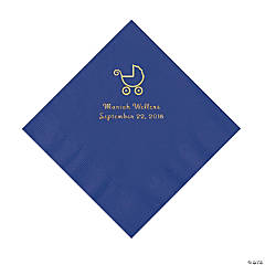 Purple Baby Carriage Personalized Napkins with Gold Foil - Luncheon