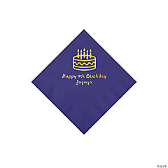 Purple Birthday Cake Personalized Napkins with Gold Foil - Beverage