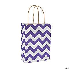 Purple Chevron Kraft Paper Gift Bags