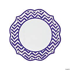 Purple Chevron Scalloped Paper Dinner Plates