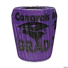 Purple Congrats Grad Graduation Plastic Trash Can Cover