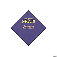 Purple Congrats Grad Personalized Napkins with Gold Foil - Beverage