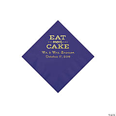 Purple Eat Cake Personalized Napkins with Gold Foil - Beverage