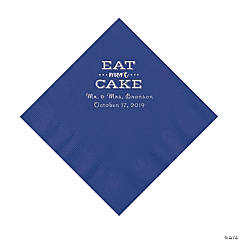 Purple Eat Cake Personalized Napkins with Silver Foil - Luncheon
