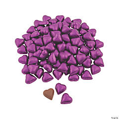 Purple Foil-Wrapped Milk Chocolate Hearts