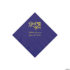 Purple God Gave Me You Personalized Napkins with Gold Foil - Beverage