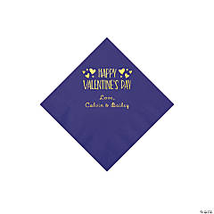 Purple Happy Valentine's Day Personalized Napkins with Gold Foil - Beverage