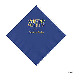 Purple Happy Valentine's Day Personalized Napkins with Gold Foil - Luncheon