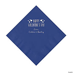 Purple Happy Valentine's Day Personalized Napkins with Silver Foil - Luncheon