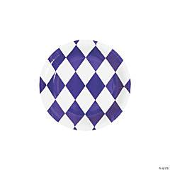 Purple Harlequin Print Round Paper Dessert Plates - 8 Ct.