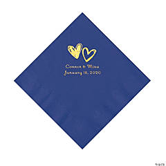 Purple Hearts Personalized Napkins with Gold Foil - Luncheon