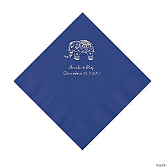 Purple Indian Wedding Personalized Napkins with Silver Foil - Luncheon