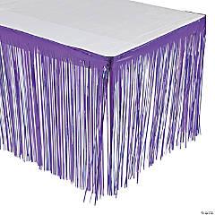 Purple Metallic Fringe Plastic Table Skirt