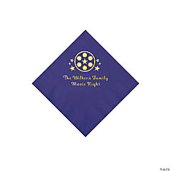 Purple Movie Night Personalized Napkins with Gold Foil – Beverage