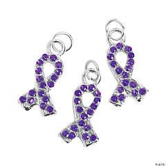 Purple Rhinestone Ribbon Charms - 1/2