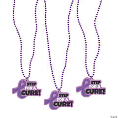 Purple Ribbon Charm Bead Necklaces