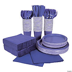 Purple Tableware Kit for 48 Guests