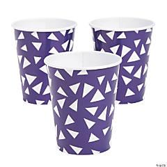 Purple Terrazzo Triangle Print Paper Cups