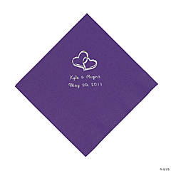 Purple Two Hearts Personalized Napkins with Silver Foil - Luncheon