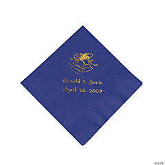 Purple Wedding Bells Personalized Napkins with Gold Foil - Beverage