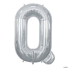 """Q"" Silver Mylar Letter Balloon"