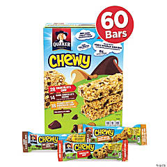 QUAKER Chewy Granola Bar Chocolate Chip & Peanut Butter Chocolate Chip Variety Pack - 60 Pieces