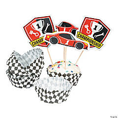 Race Car Birthday Cupcake Wrappers with Picks