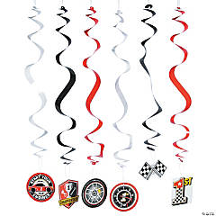 Race Car Party Hanging Swirl Decorations - 12 Pc.