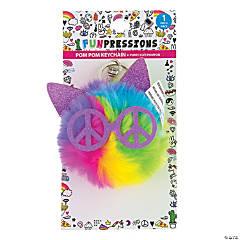 Rainbow Cat Pom-Pom Keychain