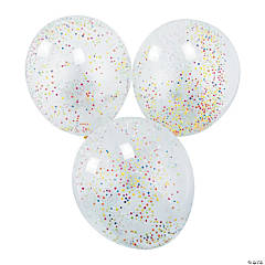 Rainbow Foam Confetti-Filled Latex Balloons