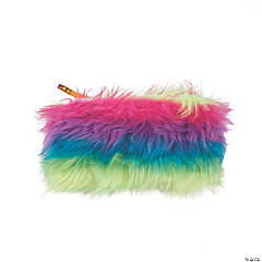 Rainbow Fur Plush Pencil Cases