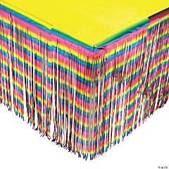 Rainbow Metallic Fringe Table Skirt